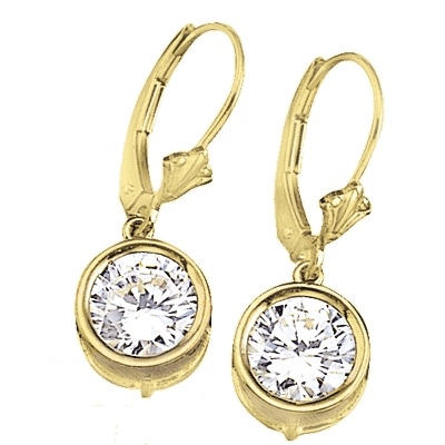 Diamond Essence 2.0 Ct. each, Round Brilliant stone in bezel setting with leverback. 4.0 Cts. T.W. set in 14K Solid Yellow Gold.