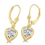 Diamond Essence, Heart shape stone in bezel setting with leverback. 0.75 Cts. T.W. set in 14K Solid Yellow Gold.