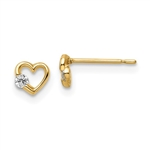 Heart shape Earrings with Round Diamond 0.10 Cts. T.W. set in 14k Solid Yellow Gold.