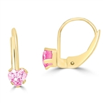 Leverback Earrings with Heart shaped Pink Essence set in five prong  14k Solid Yellow Gold setting, 0.5 Cts. T.W.