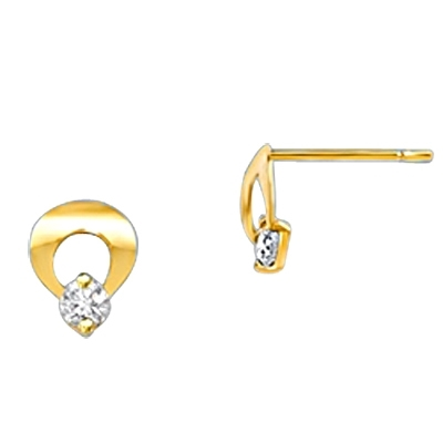 Children's Circle Post Earrings.Diamond Essence 0.10 carat each Round Brilliant stone set in prongs and 14K Solid Gold Arch, Just Perfect for little ears. 0.20 cts.t.w.in 14K Solid Gold.
