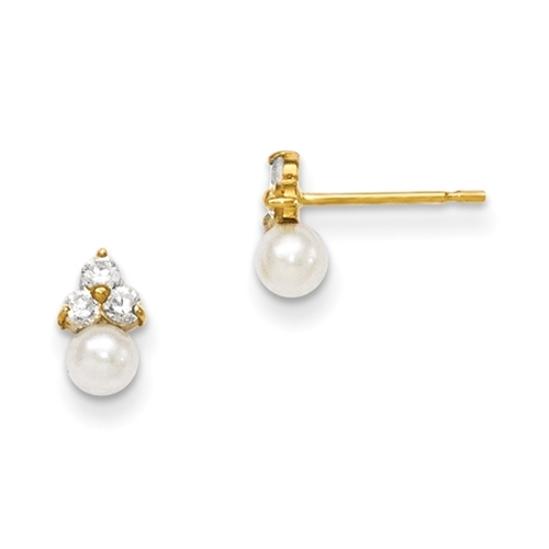 Diamond Essence Round Brilliant stone 0.10 ct each, set in group of three in floral arrangement and round freshwater cultured pearl makes a perfect post earrings for little ears. 0.60 cts.t.w. set in 14K Solid Yellow Gold.