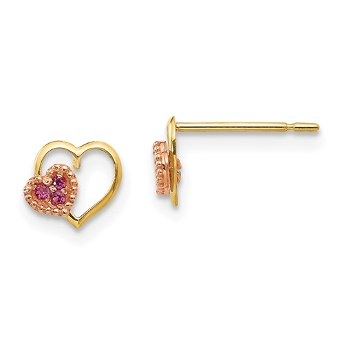 Children's Heart shape Earrings with Round cut Ruby Essence set in  heart shape, 0.06 Cts. T.W. set in 14k Solid Yellow Gold.