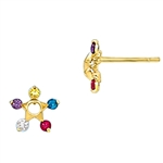 Prong Set Star Earring with Simulated Multi-Color Diamonds by Diamond Essence set in 14K Solid Yellow Gold