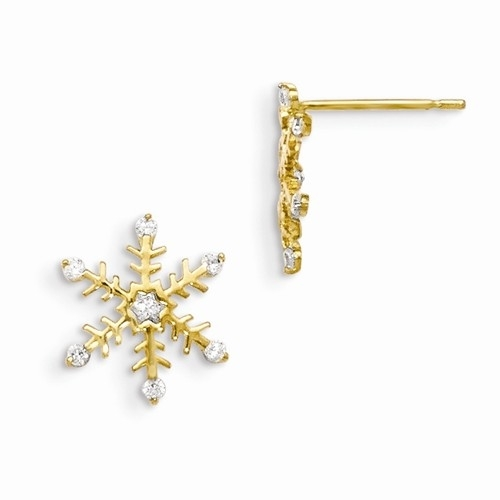 Snowflake Earring with sparkling Diamond Essence melee in the center and around. 0.10 ct.t.w. set in 14K Solid Gold.