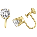 French Backs by Diamond Essence set in 14K Solid Yellow Gold