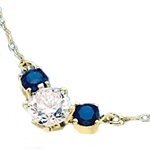Diamond Essence and sapphire Essence together make a special gift. 1.75 cts.t.w. 14K Solid Gold.