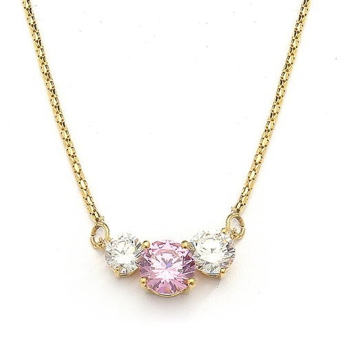 Pink Essence stone accompanied by Diamond Essence stones on each side to make delicate but stunning looking necklace. 14K Solid Gold. 4.0 cts. T.W. on 16 inch yellow Gold Chain.