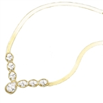 Classic combination of Diamond Essence Oval cut and Pear cut stones, apprx 4.0 cts.t.w. set in 14K Solid Gold. Necklace suitable for any occasion.