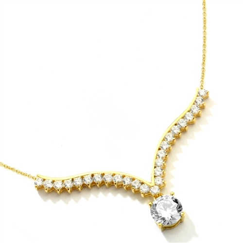 Supreme Necklace that is sure shot eye candy! 2.0 Cts. Brilliant White Diamond Essence Round Dangler atones a curvy melee of Round Brilliants set exquisitely in an Art Deco Setting! 3.50 Cts.T.W. attached with Chain in 14k Solid Yellow Gold.