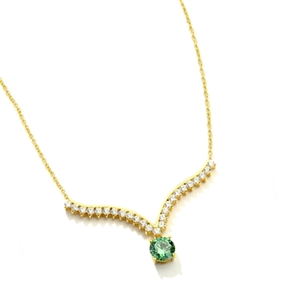 Supreme Necklace that is sure shot eye candy! 2.0 Cts. Round Emerald Essence Dangler atones a curvy melee of Round Brilliants set exquisitely in an Art Deco Setting! 3.50 Cts.T.W. attached with Chain in 14K Solid Yellow Gold.