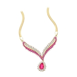 Prong Set Necklace with Artificial Pear and Round Cut Ruby and Brilliant Diamonds by Diamond Essence set in 14K Solid Yellow Gold