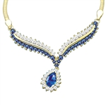 Prong Set Necklace with Artificial Pear and Round Cut Sapphire Essence and Brilliant Diamonds by Diamond Essence set in 14K Solid Yellow Gold