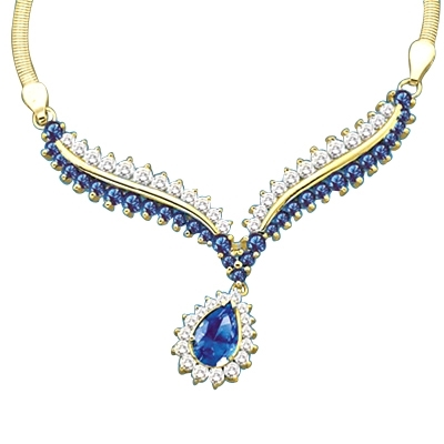 Diamond Essence Necklace with Pear cut Sapphire, Round cut Sapphire and Brilliant Stones, 4.50 cts.t.w. - GND1635S