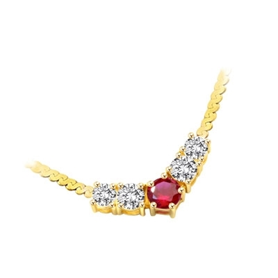"Celebration Necklace- Four round diamond essence stones and Ruby in the middle captured on a 16"" necklace.1.5 Cts. T.W. set in 14K Solid Yellow Gold."