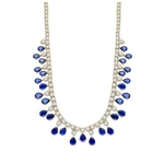 "Diamond Essence dazzling Necklace, 16"" long just perfect for any Occassion. 1.0 Ct. each Sapphire Essence stone dangling from Round Brilliant Diamond Essence stone. Appx. 75.0 Cts.T.W. set in 14K Solid Yellow Gold."