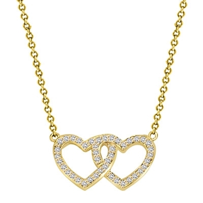 "Heart In Heart with 16"" long attached chain, 0.50 ct. t.w. of Diamond Essence Round Brilliant Stones in 14K Solid Gold."