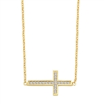"East-West Cross Necklace with 16"" long attached chain and 0.25 ct.t.w. Diamond Essence Melee, 14K Solid Gold."