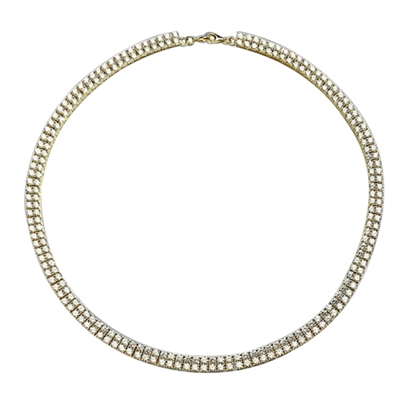 "16"" long Designer Necklace with two rows of Round Diamond Essence, set delicately in four prong setting, 38.0 Cts. T.W. Set in 14K Solid Yellow Gold."