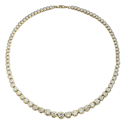 "16"" long Diamond Essence Designer Necklace with Bezel set, graduating Round Brilliant Diamond Essence, appx 26.0 cts.T.W. set in 14K Solid Yellow Gold."