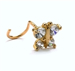 Diamond Essence 14K Solid Yellow Gold Nose Ring with 0.20 Ct.T.W. Round Brilliant Melee in Delicate Butterfly Design.
