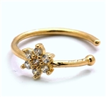 Diamond Essence 14K Solid Yellow Gold Nose Ring with 0.10 Ct.T.W. Round Brilliant Melee in Delicate Floral Design.