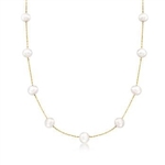 Diamond Essence 18 Inch Long Nine Station Necklace With 4.2mm Each Pearl in 14K Solid Yellow Gold Chain.