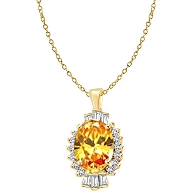 Diamond Essence Pendant in Gold Vermeil with 10 cts. Oval Canary in center. Round Essence and Baguettes on either side, set in prong settings, makes it a designer wear. 13.0 cts.t.w.