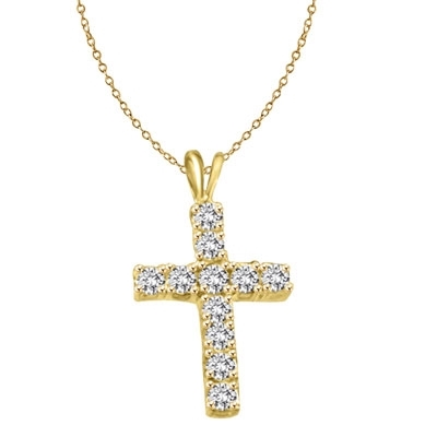 round stones gold cross pendant