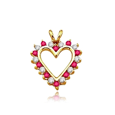Ruby Essence Heart Pendant - 0.5 Cts. T.W. set in 14K Solid Yellow Gold.