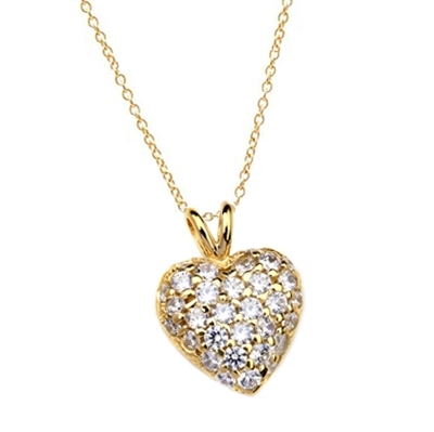 Heart Pendant with 1.30 Cts.T.W.  Pave - Set Round Brilliant Melee, to guide him directly to you. 1/2 inch long in 14K Solid Gold.