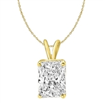 2ct radiant Emerald pendant in Solid Gold