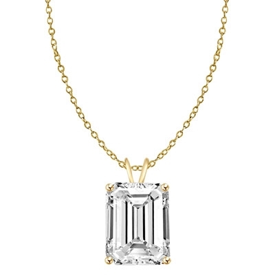 Diamond Essence Emerald cut stone, 1.0 carat, set in 14k Solid Yellow Gold. Chain not included.