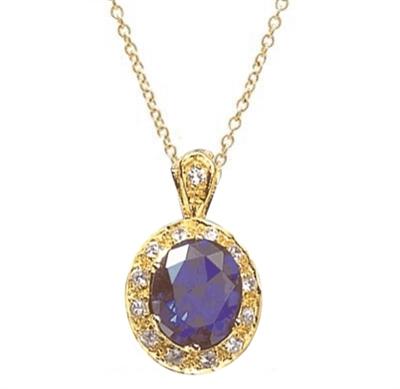 Oval 6.5 cts. Diamond Essence blue sapphire encircled by Diamond Essence gems makes an elegant pendant, 8 cts.t.w. in 14K Solid Gold.