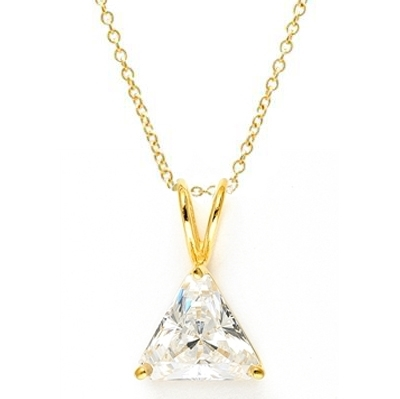 Diamond Essence Pendant with Triangle stone.3.0 Cts. T.W. set in 14K Solid Yellow Gold.