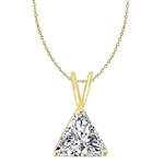 Diamond Essence Pendant with Triangle Stone. 1.0 Cts. T.W. set in 14K Solid Yellow Gold.