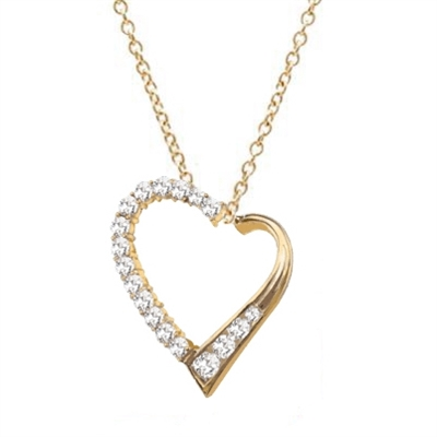 Diamond Essence Heart Shape Pendant with Round and Princess stones, 1.50 cts.t.w in 14K Solid Gold.
