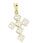 Solid gold bezel setting,princess cut cross pendant