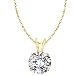 Diamond Essence Round Brilliant 1.0 ct. set in 14K Solid Gold. Choice of 2 and 3 carats available.