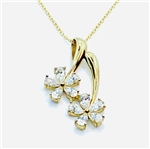 Pendant-solid gold,2 flower slide,10 pear shape stone