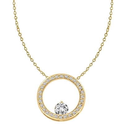 14K Solid Yellow Gold Circular Pendant. 0.50 Ct. Round Brilliant Diamond Essence balanced appealingly at the bottom of a circle made of Melee, 1.20 Cts.T.W.