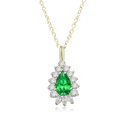 Designer Pendant with 4 Ct. Pear Emerald Essence Center enhanced by round and marquise stones forminmg 5.20 Cts. T.W. in 14K Solid Gold. (Available in Gold Vermeil, item# VPD2603).