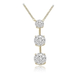 Trio Necklace with round diamonds on a bar
