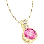 14K solid Gold pendant, 2.06 cts. In all with a 2.0 cts. Bezel-Set Round cut Pink Essence center.