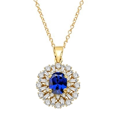 Diamond Essence Designer Pendant in 14K Solid Yellow Gold with 2.5 carat Oval Sapphire Essence in the center, surrounded by Diamond Essence round stones and baguettes. Appx. 4.5 cts.t.w. Just perfect for all occasions.