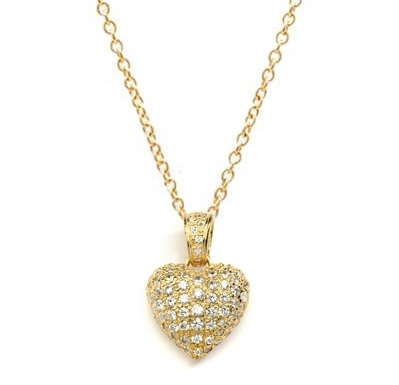 Craftman's delight Heart Pendant with micro pave set Diamond Essence accents shining your love like never before. There are tiny accents on the bale to highlight the overall glory effect. 2.5 Cts. T.W. set in 14K Solid Yellow Gold.