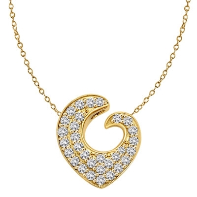 Artistic and Elegant Heart Pendant with Micro Pave Set Diamond Essence accents accentuating your love to the highest! Appx. 2.0 Cts. T.W. set in 14K Solid Yellow Gold.