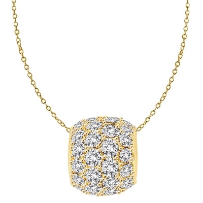 Diamond Essence Slide Pendant with Round stone all around 3.0 Cts. T.W. set in 14K Solid Yellow Gold.