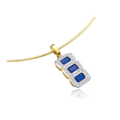 Dynamite triple treat triplet pendant with three matching Sapphire Essence stones—more true in color than most mined sapphires, each in its own frame of sparkling round Diamond Essence pieces 2.1 cts. t.w.in 14K Solid Gold.