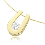 Round brilliant stone pendant in Solid Gold horseshoe
